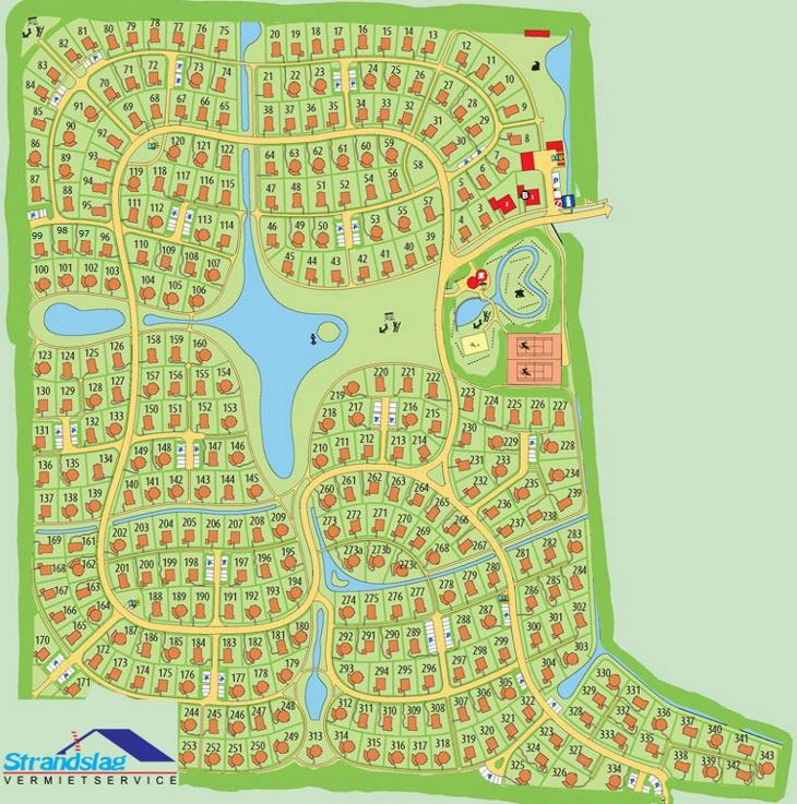 Lageplan der Ferienhäuser im Ferienpark Strandslag - Julianadorp